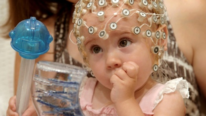 NEWARK, N.J.- A baby with an EEG cap on her head during the language identification game. (Photo Credit: NG Studios/Wes Dorman)